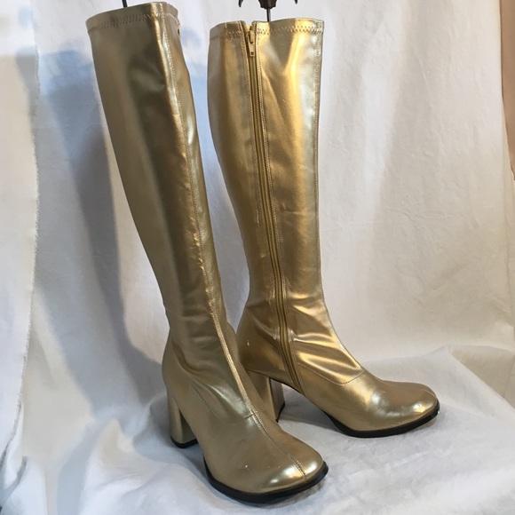 Gold Lame Knee High Gogo Boots | Poshmark